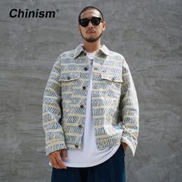 5840d6b2061 CHINISM Full Letter Printed Denim Jackets Men 2018 Autumn Fashion Casual  Cotton Jean Jacket Loose Coats Male Hip Hop Streetwear