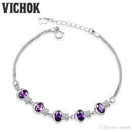 Cadeaux violets uniques en Ligne-Romantique Bracelets Mystic Purple Charm BraceletsBangles Accessoires De Mode Cadeau Unique Pour Les Femmes De Mariage Fine Jewelry VICHOK