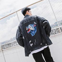 2019 veste en jean design hommes street men veste en jean avec une tête de loup brodée a formé les motifs de broderie manteau veste en jean à manches longues veste en jean design hommes pas cher