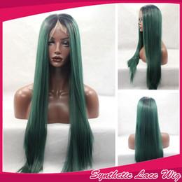 devant en dentelle synthétique vert foncé Promotion Longue soyeux perruques droites Ombre Dark Green chaleur Safe cheveux synthétiques Lace Front perruque avec des racines noires pour les femmes cheveux résistant à la chaleur de fibre
