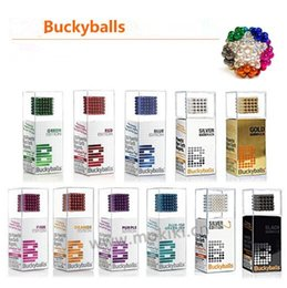 Wholesale 5mm Bucky Ball - 5mm 216pcs Silver Magic Magnetic Bucky Cubes Round Bucky Ball Magnets Colorful Magic Cubes Table Decompression Toy CCA8511 35pcs