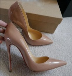 Wholesale toe styles - Free Shipping So Kate Styles 12cm High Heels Shoes Red Bottom Nude Color Genuine Leather Point Toe Women Pumps Rubber Wedding Shoes