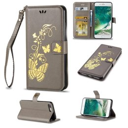 Wholesale S4 Mini Casing - Luxury Bronzing Butterfly Leather Wallet Case Bronzing Printing Flip Stand Phone Shell For Samsung S5 S6 S7 S4 S5 Mini S6 Edge Plus