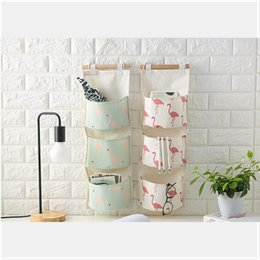 Wholesale Wardrobe Storage - Flamingo Pattern Cotton Linen Hanging Storage Bag 3 Pockets Wall Mounted Wardrobe Hang Bag Wall Pouch Cosmetic Toys Organizer