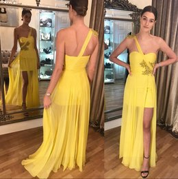 Argentina 2018 Nuevos vestidos de noche largos de gasa amarilla con cuentas de oro, partido partido de noche formal, vestidos de fiesta ME129 Suministro