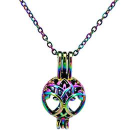 Canada C444 arc-en-couleur couleur arbre de vie perles rondes cage pendentif huile essentielle diffuseur aromathérapie perle cage médaillon collier pendentif Offre