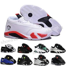 Wholesale fusions sneakers - High Quality 14 Men Basketball Shoes 14s Fusion Varsity Red Suede Thunder Black XIV Playoffs Sneakers With Shoes Box