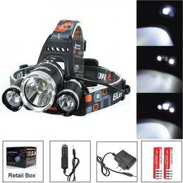 Baterías de pescado online-6000Lm CREE XML T6 + 2R5 LED faro faro Head Lamp Light 4 modos antorcha + 2x18650 batería + EU / US / AU / UK Cargador de coche para pescar luces