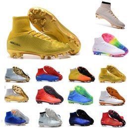 Wholesale Cr7 Soccer Cleats - Best football shoes men's CR7 CR501 boots new Ronaldo cr7 Black soccer boots superflys football boots high tops soccer cleats s