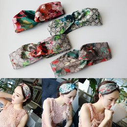 Wholesale headband turbans - 2018 Designer 100% Silk Cross Headband Fashion Luxury Brand Elastic Hair bands For Women Girl Retro Turban Headwraps Gifts