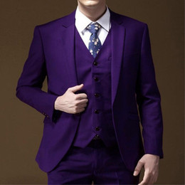 Костюмы для западных мужчин онлайн-2018 latest purple men's fashion western decoration custom men's suit wedding groom dress (coat + pants + vest) 3