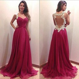 Wholesale t shirt design hands - Hollow A Line Evening Dresses 2018 Latest Design Formal Gowns See Through Pleated Custom Made A Line Sweep Train Long Prom Dresses
