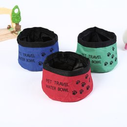 Wholesale folding rabbit - Oxford Cloth Folding Dog Bowl Outdoor Pet Travel Portable Collapsible Pet Dog Cat Rabbit Food Bowl Waterproof DDA441