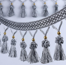 Wholesale Hanging Pockets - 12Meter Hydrange Tassels Bead Pendant Hanging Lace Trim Ribbon For Window curtain wedding Party Decorate Apparel Sewing DIY