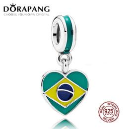 Wholesale 925 Silver Brazil - DORAPANG 100% 925 Sterling Silver Brazil Heart Flag Dangle Charm Mixed Enamels Pendant Bead For Mother Gift Bracelet DIY Bangle