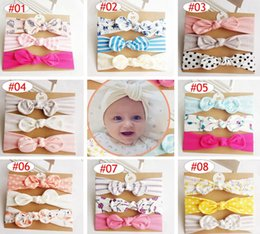 Wholesale girls birthday card - INS Baby girls Unicorn Headband Kids Mermaid flamingo hair accessories Knot Bows Bunny band Birthday gift Flowers Geometric Print 3pcs card