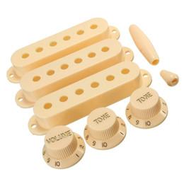 dicas de guitarra Desconto Plastic Creme Cor Eletric guitarra Capas recolhimento 1 botões de volume 2 Tone Mudar Dicas Set guitarra Parts Acessórios