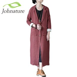 62692adb2d Johnature 2017 New Original Autumn Winter Linen Long Women Trench Double  Layer Thick Vintage Coat linen coats women on sale
