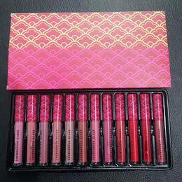 Wholesale Lipstick Girls - Brand matte Long Lasting lipstick lipgloss Liquid lip gloss liquid batom makeup cosmetics set for girls teens12 colors 2018