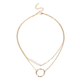688760fd1bb0 Gargantilla multicapa Harajuku Style Pearl Necklace Moda mujer Personalidad  Geometría Doble Círculo Clavícula