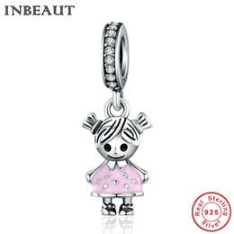 Inbeaut 925 sterling silver pink saia cute little girl pingente de pérolas mulheres encantadora vestir lassock charme fit pulseira pandora de