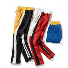 Argentina 2018 Pantalones de los hombres del diseñador High Street Moda Hip Hop Primavera Otoño Party Club Pantalones Joggers S-XXL 3 colores Yellow Red Patchwork cheap yellow trousers for men Suministro
