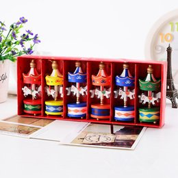 Wholesale toy carousels - 6 Pcs  Set Merry Christmas Wood Carousel Horse Ornaments Children Gift Toys Pendant Home Xmas Decorate #253743