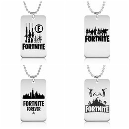 Wholesale pendant steel jewelry - Fortnite Pendant Necklace Stainless Steel Logo Printing Customized Engraving Punk Style FPS Game Jewelry Gift for fans Wholesale