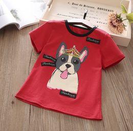 Wholesale Dog Christmas Shirts - Summer New Cute Cartoon Dog Children T Shirts Boys Girls T-Shirt Cotton Short Sleeve T Shirt kids Tops Kids Shirts kids clothing
