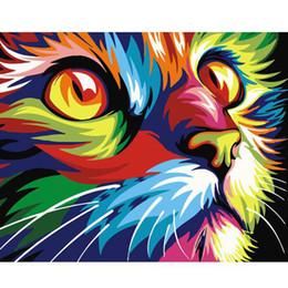 pintura de parede dos gatos Desconto 0329ZC136 casa parede deco imagem diy número pintura a óleo crianças gato colorido graffiti olhando para o céu pintura por números