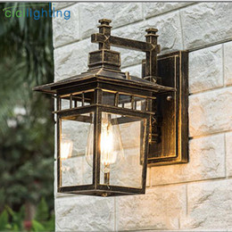 Wholesale Wall Sconce Light Bronze - Vintage Art decoration outdoor porch lights Aluminum + glass lampshade waterproof E27 wall lamp red bronze black balcony sconces