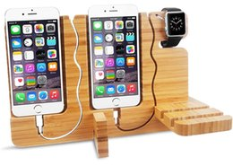 Wholesale Docking Station For Tablet - 5 in 1 Bamboo Charging Stand Dock Station Adjustable Holder for iWatch iPhone and Other Smartphone Tablet