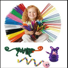 Wholesale toy pipes - Chenille Stems Pipe Twist Rods Cleaners Kids Craft Educational Toys 0.45*3cm r twist rod wool strip toy KKA5619