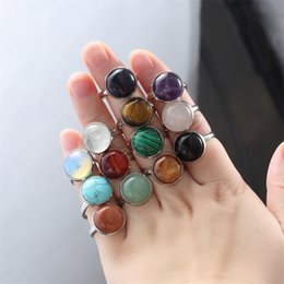 opala branca natural Desconto 10mm 12mm anel de pedra natural branco azul Turquesa opala rosa cristal Chakra anel aberto para as mulheres jóias