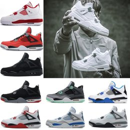 Wholesale 4s Pink - 2018 hot sale 4 4s Pure Money Royalty White Cement Premium Black Bred Military Blue Fire Red basketball shoes Sports sneakers size 41-47