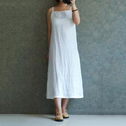 273cfb0f443 Summer Dress 2018 White Plus Size Elegant Midi Dress Cotton and Linen A-Line  Solid Casual Beach Dress Roupas Femininas