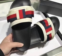 Wholesale Womens Bow Sandals - 2018 summer womens real leather with canvas luxury Appliques knot bow flat heel slides peep toe sandals
