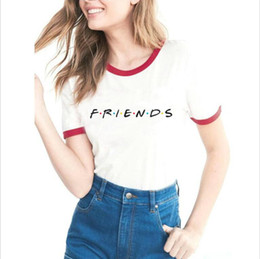 Ropa de mejor amigo online-Friends Tv Shows Mujeres Hipster Shirts Tumblr Graphic T-Shirt Mujeres Best Friends Ringer Tee T Shirt Moda Cotton Clothing Top Mujer
