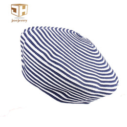 Wholesale Women French Beret - joejerry Cute Felt Blue Striped Beret Women Adjustable Painters Beret Caps Knitted French Style Hats For Autumn Winter 2017