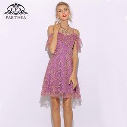 lila skater kleider Rabatt Parthea Purple Beach Blumenkleid Frauen Spitze Party Kleid Sexy Frauen Sommer Boho Rüschen Skater Damen Kleider Mesh Vestido