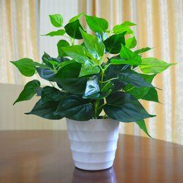 Wholesale life like - Garden Decoration Green Leaves Plant Flowers Simulation Pots Artificial Life Like Epipremnum Aureum With Vase