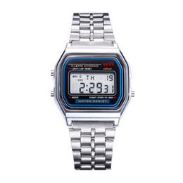 Assistir a159w on-line-2018 Nova Venda Quente Multifunções WR F91W Moda Relógios pulseira de metal LED Mudança de Relógio Esporte A159W Relógio Para O Estudante Crianças