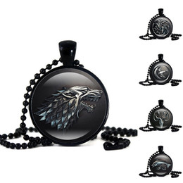 Wholesale Fish Gifts - New Game of Thrones House Sign Necklace Animal Totem Wolf Dragon Lion Fish Time Gemstone Glass Cabochon Necklace Pendant Drop shipping