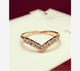 Wholesale V Ring Size - whole salejz 003 2017 new unique fashion styling V-shaped mosaic crystal little finger ring jewelry wholesale friends loved ones the most