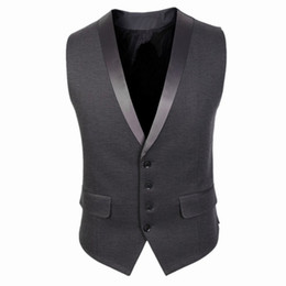 Traje de chaleco gris online-Grey Wool Mens Vest 2019 Formal Suit Vest Prom Tuxedo Jacket Vests Custom Groom Wear Wedding Waistcoat Mens Dress Vests