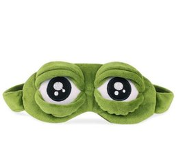 Wholesale Funny Cartoon Movies - Funny Creative Pepe Sad Frog 3D Eye Mask Cover Cartoon Plush Sleeping Mask Cute Anime Gift Toys