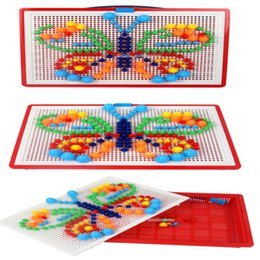 Wholesale Insert Bead Toy - Mosaic Mushroom Nail Baby Toys Creative Colorful Children Learning Toy Insert Beads Puzzle Educational Toys DDA70