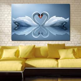 2019 pinturas a óleo de cisnes Amantes Cisne Pinturas Na Lona Moderna Retratos Da Parede Para Sala de estar Decoração de Casa Sem Moldura Pintura A Óleo desconto pinturas a óleo de cisnes