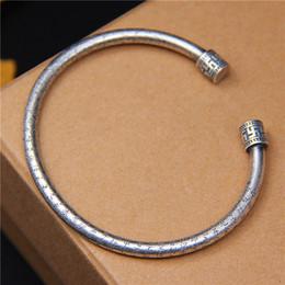 bracelet 999 Promotion LP BraceletBangle 100% 999 Bracelets En Argent Sterling Pour Femmes Vintage Écritures Bouddhistes Bijoux Cadeaux D'anniversaire Top Qualité