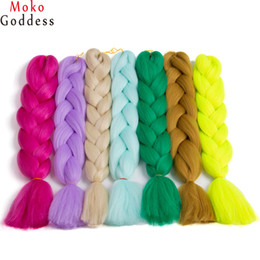 Wholesale Kanekalon Colors - Ali MoKoGoddess 29 Signle Colors To Choose Synthetic Kanekalon Hair 24 Inch 100g piece Jumbo Braid Hair Extensions